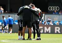 SAN JOSE, CA - APRIL 24: San Jose Earthquakes huddle up during a game between FC Dallas and San Jose Earthquakes at PayPal Stadium on April 24, 2021 in San Jose, California.