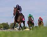 August 14, 2021 : Santa Barbara, #4, ridden by jockey Ryan L. More wins the Beverly D. Stakes on Mister D Stakes Day at Arlington Park Racecourse on August 14, 2021 in Arlington Heights, Illinois. Ryan Thompson/Eclipse Sportswire/CSM