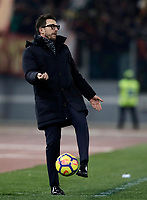 Calcio, Serie A: AS Roma - Benevento, Roma, stadio Olimpico, 11 gennaio 2018.<br /> Roma's coach Eusebio Di Francesco gestures during the Italian Serie A football match between AS Roma and Benevento at Rome's Olympic stadium, February 11, 2018.<br /> UPDATE IMAGES PRESS/Isabella Bonotto