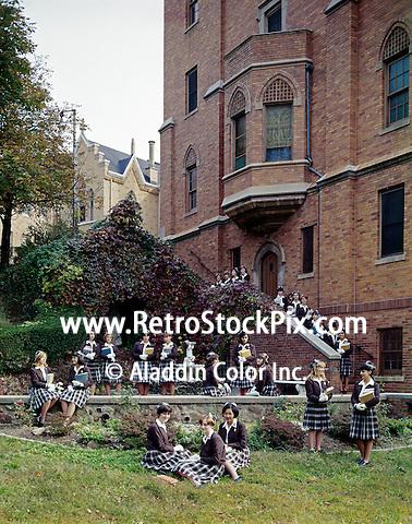 St. John Villa Academy. Teenager girls in school uniforms. 1959
