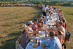 """A special outdoor dinner held at Jolie Vue Farms by the group """"Outstanding in the Field"""" was held for 162 people. (Saturday, Oct. 4, 2008, in Brenham. ( Steve Campbell / Houston Chronicle)"""