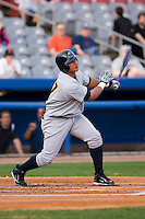 Jose Tabata (57) of the Trenton Thunder follows through on his swing versus the Connecticut Defenders at Dodd Stadium in Norwich, CT, Tuesday, June 3, 2008.
