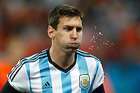 Lionel Messi of Argentina spits