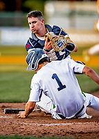 29 May 2021: Vermont Lake Monsters outfielder Andrew Bergeron, from Ponte Verda Beach, FL, slides home safely to score as Norwich Sea Unicorns catcher Thomas Keefe, from Weymouth, MA, is unable to make the tag in the 4th inning at Centennial Field in Burlington, Vermont. The Lake Monsters defeated the Unicorns 6-3 in their FCBL Home Opener, the first home game played at Centennial Field post-Covid-19 pandemic. Mandatory Credit: Ed Wolfstein Photo *** RAW (NEF) Image File Available ***