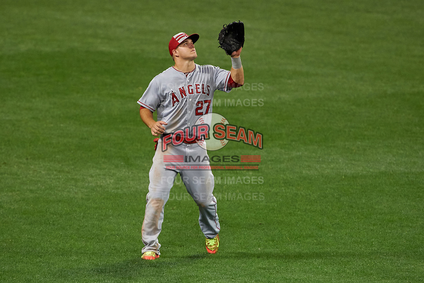 Los Angeles Angels outfielder Mike Trout gets under a fly ball during the MLB All-Star Game on July 14, 2015 at Great American Ball Park in Cincinnati, Ohio.  (Mike Janes/Four Seam Images)