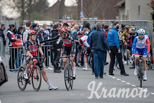 10th finisher Tosh Van der Sande (BEL/Lotto Soudal) getting a pad on the shoulder by teammate Tim Wellens (BEL/Lotto-Soudal) post-race<br /> <br /> 55th Amstel Gold Race 2021 (1.UWT)<br /> 1 day race from Valkenburg to Berg en Terblijt; raced on closed circuit (NED/217km)<br /> <br /> ©kramon