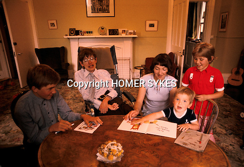 Professor Stephen Hawking 1981 at home Cambridge UK 1980s with young family. <br /> L-R Seen here with  eldest son Robert,wife Jane, Tim, Lucy.