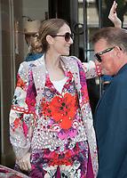 June 14 2017, PARIS, FRANCE : Singer Celine Dion leaves the Royal Monceau Hotel on Avnue Hoche