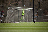 LOUISVILLE, KY - MARCH 13: Kayza Massey #00 of West Virginia University makes a save during a game between West Virginia University and Racing Louisville FC at Thurman Hutchins Park on March 13, 2021 in Louisville, Kentucky.