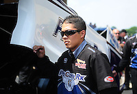 Jul, 10, 2011; Joliet, IL, USA: NHRA funny car crew members for driver Melanie Troxel during the Route 66 Nationals at Route 66 Raceway. Mandatory Credit: Mark J. Rebilas-