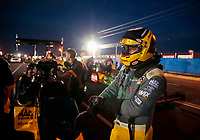 Aug 30, 2019; Clermont, IN, USA; NHRA top fuel driver Richie Crampton during qualifying for the US Nationals at Lucas Oil Raceway. Mandatory Credit: Mark J. Rebilas-USA TODAY Sports