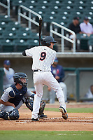 Blake Rutherford (9) of the Birmingham Barons at bat against the Pensacola Blue Wahoos at Regions Field on July 7, 2019 in Birmingham, Alabama. The Barons defeated the Blue Wahoos 6-5 in 10 innings. (Brian Westerholt/Four Seam Images)