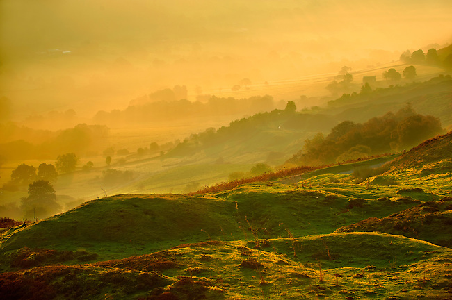 Sunrise over Rosedale viewed from Chimney Bank, North Yorks National Park, North Yorkshire, England