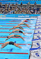 July 30, 2012..L to R:  Helge Meeuw of GER, Nick Thoman of USA, Liam Tancock of GBR, Matthew Grevers of USA, Camille Lacourt of FRA, Ryosuke Irie of JPN, Feiyi Cheng of CHN, Hayden Stoeckel of AUS compete in men's 100m backstroke final at the Aquatics Center on day three of 2012 Olympic Games in London, United Kingdom.