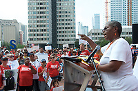 Tina Chery ,who founded the Louis D. Brown Peace Institute in 1993 after loosing her son, a member of teens against gun violence in crossfire, speaks about supporting survivors of gun violence at a Moms Demand Action for Gun Sense in America recess rally to urge Congress to vote on Senate Bill 42 to implement background checks and red flag laws, and call for an assault weapons ban at Boston City Hall Plaza Boston MA 8.18.19