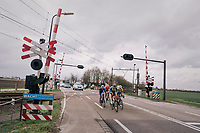 breakaway group at the railroad crossing that will go down in a short while and be the cause of exclusion for more then 30 riders that crossed while the alarm was ringing...<br /> <br /> 106th Scheldeprijs 2018 (1.HC)<br /> 1 Day Race: Terneuzen (NED) - Schoten (BEL)(200km)