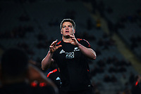 NZ's Scott Barrett warms up during the Bledisloe Cup rugby match between the New Zealand All Blacks and Australia Wallabies at Eden Park in Auckland, New Zealand on Saturday, 7 August 2021. Photo: Dave Lintott / lintottphoto.co.nz