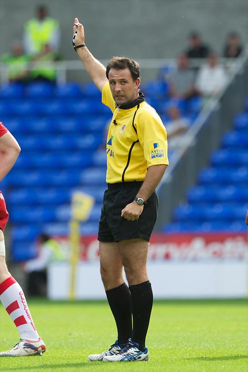 Referee Mr Greg Garner during the Aviva Premiership match between London Irish and Gloucester Rugby at the Madejski Stadium on Saturday 8th September 2012 (Photo by Rob Munro)