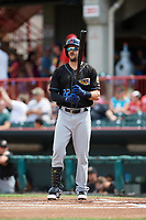 Cleveland Indians Lonnie Chisenhall (22), on rehab assignment with the Akron RubberDucks due to a right calf injury, at bat in the top of the first inning during a game against the Erie SeaWolves on August 27, 2017 at UPMC Park in Erie, Pennsylvania.  Akron defeated Erie 6-4.  (Mike Janes/Four Seam Images)
