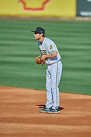 Ty Kelly (22) of the Salt Lake Bees on defense against the Albuquerque Isotopes at Smith's Ballpark on April 27, 2019 in Salt Lake City, Utah. The Isotopes defeated the Bees 10-7. This was a makeup game from April 26, 2019 that was cancelled due to rain. (Stephen Smith/Four Seam Images)