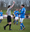 Montrose's Scott Johnston is booked by referee Colin Steven after he collided with Berwick keeper Marc McCallum.