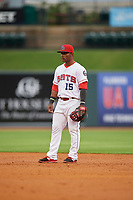 Louisville Bats second baseman Dilson Herrera (15) during a game against the Columbus Clippers on May 1, 2017 at Louisville Slugger Field in Louisville, Kentucky.  Columbus defeated Louisville 6-1  (Mike Janes/Four Seam Images)