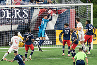 FOXBOROUGH, MA - MAY 22: Matt Turner #30 of New England Revolution makes a save during a game between New York Red Bulls and New England Revolution at Gillette Stadium on May 22, 2021 in Foxborough, Massachusetts.