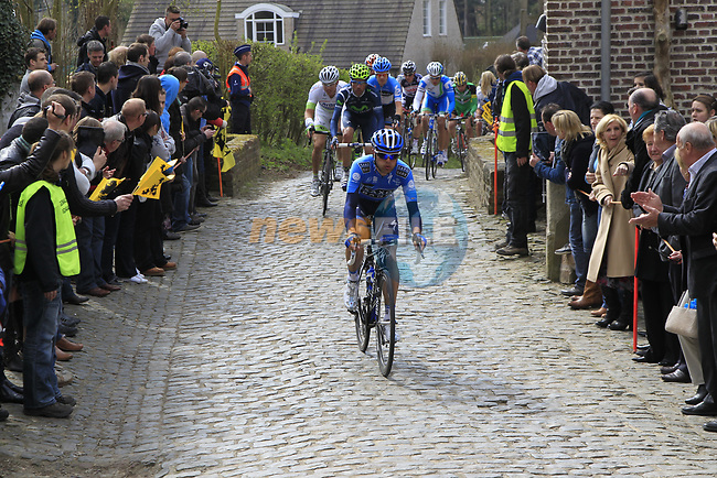 The breakaway group led by Anders Lund (DEN) Saxo Bank climb Molenberg during the 96th edition of The Tour of Flanders 2012, running 256.9km from Bruges to Oudenaarde, Belgium. 1st April 2012. <br /> (Photo by Eoin Clarke/NEWSFILE).