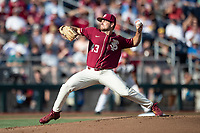 Florida State Seminoles pitcher Drew Parrish (43) delivers a pitch to the plate during Game 2 of the NCAA College World Series against the Arkansas Razorbacks on June 15, 2019 at TD Ameritrade Park in Omaha, Nebraska. Florida State defeated Arkansas 1-0. (Andrew Woolley/Four Seam Images)