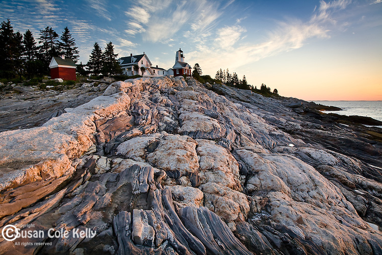 Pemaquid Point Lighthouse at sunrise in Bristol, ME, USA