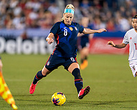 FRISCO, TX - MARCH 11: Julie Ertz #8 of the United States crosses the ball during a game between Japan and USWNT at Toyota Stadium on March 11, 2020 in Frisco, Texas.