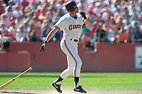SAN FRANCISCO, CA - Will Clark of the San Francisco Giants bats during a game at Candlestick Park in San Francisco, California in 1991. Photo by Brad Mangin