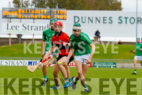 David O'Sullivan, Ballyheigue, in action against Jack Enright, Ballyduff, during the Kerry County Minor Hurling Championship Final match between Ballyduff and Ballyheigue at Austin Stack Park in Tralee, Kerry.