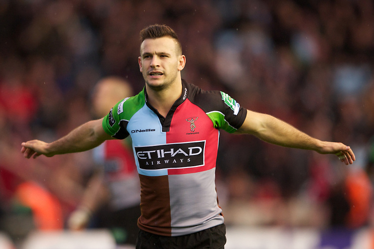 Danny Care of Harlequins celebrates scoring the opening try during the Heineken Cup match between Harlequins and Biarritz Olympique Pays Basque at the Twickenham Stoop on Saturday 13th October 2012 (Photo by Rob Munro)