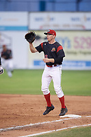 Batavia Muckdogs first baseman Ben Fisher (36) waits for a throw for the force out during a game against the West Virginia Black Bears on June 26, 2017 at Dwyer Stadium in Batavia, New York.  Batavia defeated West Virginia 1-0 in ten innings.  (Mike Janes/Four Seam Images)