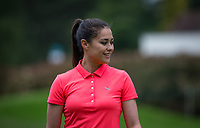 Sam Quek MBE (GBR Hockey) with hockey stick during the BMW PGA PRO-AM GOLF at Wentworth Drive, Virginia Water, England on 23 May 2018. Photo by Andy Rowland.