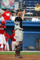 July 14th 2008:  Caleb Joseph of the Aberdeen Ironbirds, Class-A affiliate of the Baltimore Orioles, during a game at Dwyer Stadium in Batavia, NY.  Photo by:  Mike Janes/Four Seam Images