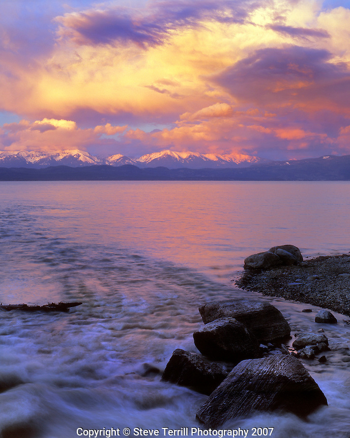 Flathead Lake and Mission Range at sunset in Lake County Montana