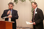 NAUGATUCK, CT-03 FEBRUARY 2004 -020305JS02- Anthony Edwards, right, manager of the Peter and Paul plant in Naugatuck, laughs at remarks made by Jay Carlson, president of the baord of directors of the United Way of Naugatuck & Beacon Falls , as he receives the Mary H. Connolly Community Caring Award during the United Way's annual meeting and awards ceremony held Thursday at Leary's Crystal Room in Naugatuck.--  Jim Shannon Photo--Leary's Crystal Room; Naugatuck; Anthony Edwards; Jay Carlson; Mary H. Connolly Community Caring Award, United Way of Naugatuck & Beacon Falls are CQ