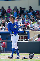 Gabriel Noriega (4) of the Omaha Storm Chasers at bat against the Memphis Redbirds in Pacific Coast League action at Werner Park on April 22, 2015 in Papillion, Nebraska.  (Stephen Smith/Four Seam Images)