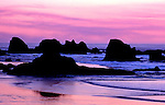 Sunset scene on Oregon Coast at Indian Cove in Ecola State Park near Cannon Beach.