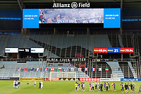 ST PAUL, MN - SEPTEMBER 06: Supporters section during a game between Real Salt Lake and Minnesota United FC at Allianz Field on September 06, 2020 in St Paul, Minnesota.