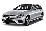 2017 Mercedes Benz E-Class Launch-Edition 5 Door wagon Angular Front stock photos of front three quarter view