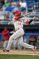 Auburn Doubledays third baseman Diomedes Eusebio (18) at bat during a game against the Batavia Muckdogs on August 27, 2014 at Dwyer Stadium in Batavia, New York.  Auburn defeated Batavia 6-4.  (Mike Janes/Four Seam Images)