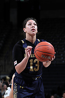 WINSTON-SALEM, NC - FEBRUARY 06: Marta Sniezek #13 of the University of Notre Dame shoots a free throw during a game between Notre Dame and Wake Forest at Lawrence Joel Veterans Memorial Coliseum on February 06, 2020 in Winston-Salem, North Carolina.