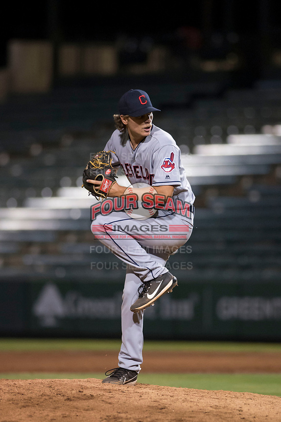 AZL Indians 2 relief pitcher Robert Broom (69) delivers a pitch during an Arizona League game against the AZL Angels at Tempe Diablo Stadium on June 30, 2018 in Tempe, Arizona. The AZL Indians 2 defeated the AZL Angels by a score of 13-8. (Zachary Lucy/Four Seam Images)