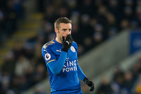 Goal scorer (50th Premier League Goal) Jamie Vardy of Leicester City during the EPL - Premier League match between Leicester City and Manchester United at the King Power Stadium, Leicester, England on 23 December 2017. Photo by Andy Rowland.