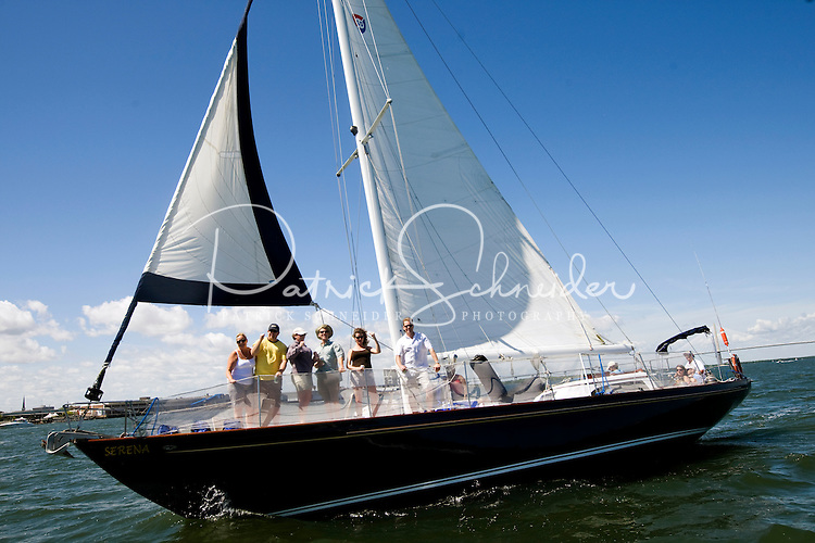 Tourists sail along the Cooper River in Charleston, SC.