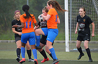 Action from the Capital Women's Premier football match between Island Bay United 1sts and Wellington United Sapphires at Wakefield Park in Wellington, New Zealand on Sunday, 1 August 2021. Photo: Dave Lintott / lintottphoto.co.nz