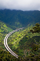 The H3 freeway on Oahu, as seen from Aiea mountains